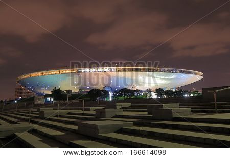 SHANGHAI CHINA - OCTOBER 31, 2016: Mercedes Benz Arena. Mercedes Benz Arena is an indoor arena located on the former grounds of Expo 2010 in Pudong