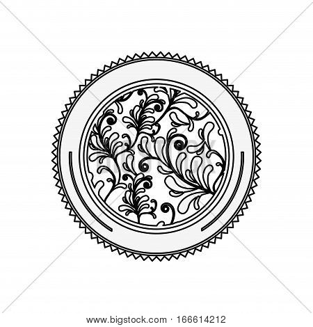 silhouette circular border with leaves and ramifications vector illustration