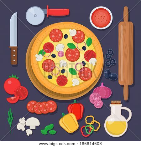 Pizza with baking ingredients and rolling pin. Vector illustration