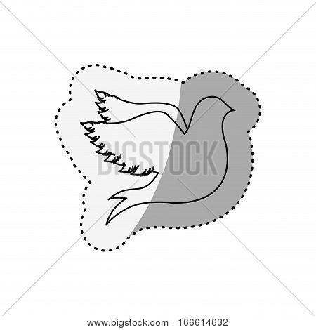sticker of silhouette fly bird shading vector illustration