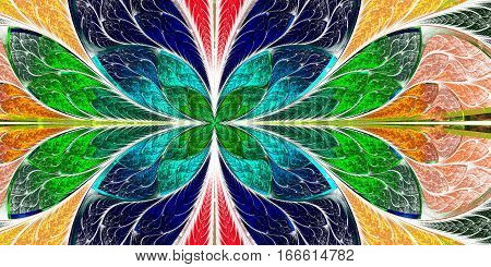 Beautiful fractal pattern in stained-glass window style. You can use it for invitations notebook covers phone case postcards cards wallpapers and so on. Artwork for creative design art and entertainment.