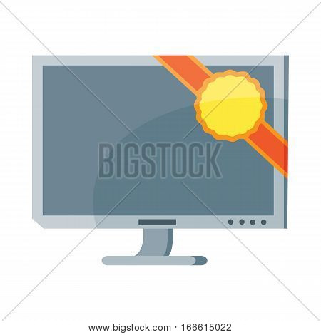 Led tv plasma computer screen isolated on white. Modern tele in flat style. Crystal stationary computer display. LCD flat panel display which uses LED. Thin liquid crystal display. Vector illustration