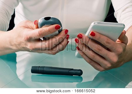 Blood Glucose Meter and Smart Phone, toned image