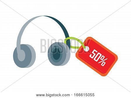 Earphones with red sale tag fifty percent discount isolated. Sale of household appliances. Electronic device headphones in flat style. Music, headphones dj, speaker, headset, headphones icon. Vector