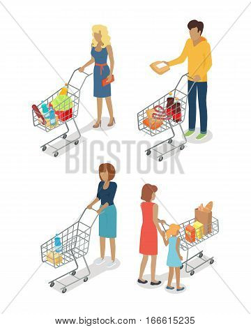 People with cart purchases set in flat design. Shop cart customer woman man buy purchase, trolley with purchase, consumer with goods, food product in cart, buyer, shopper. Vector illustration