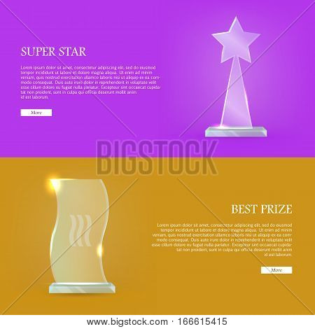 Best prize. Super star. Set of glass awards trophy rewards web banner. Premium reward. Victory. Triumph. Vector illustration in flat style. Success, victory, reward conceptual banners, web, app, icons