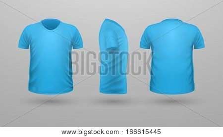 T-shirt template set, front, side, back view. Blue color. Realistic vector illustration in flat style. Sport clothing. Casual men wear. Cotton unisex polo outfit. Fashionable apparel.