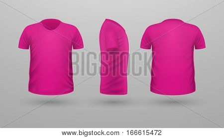 T-shirt template set, front, side, back view. Pink color. Realistic vector illustration in flat style. Sport clothing. Casual men wear. Cotton unisex polo outfit. Fashionable apparel.