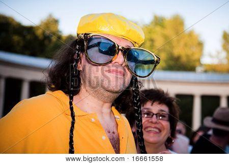 ARKHANGELSKOE - JUNE 6:  Man With Big Sunglasses. 7th International Jazz Festival