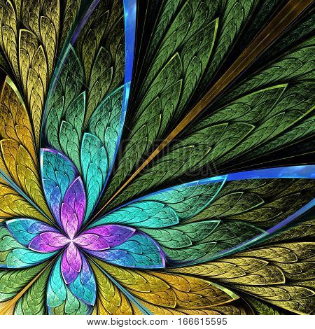 Beautiful fractal flower or butterfly in stained glass window style. You can use it for invitations notebook covers phone case postcards cards wallpapers and so on.