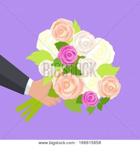 Wedding bouquet of pink, white and green roses in man hand isolated. Wedding flowers present. Bride main attribute. Romantic gentle element for wedding. Wedding decor fashion. Marriage flowers. Vector