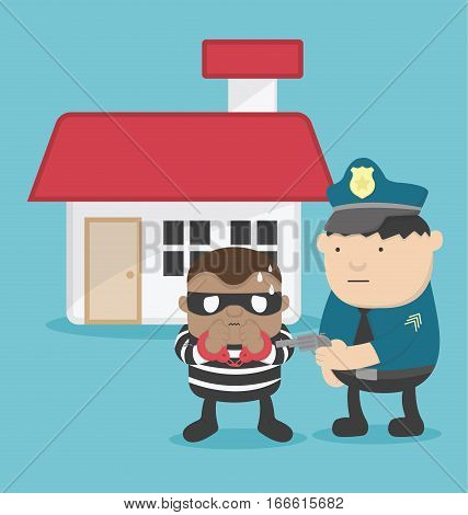 illustration of a thief after steal a home. Police arrested