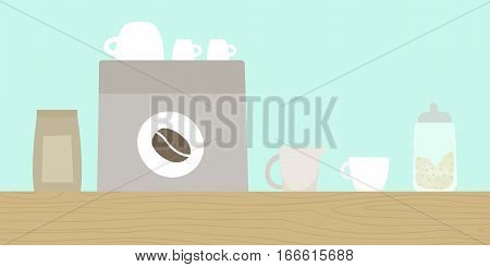 Cafe wooden counter with coffee machine, cups etc. Vector hand drawn illustration.