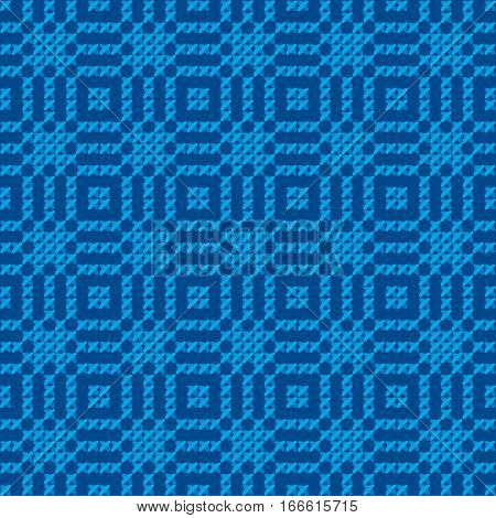 cross stitch vector ornament. traditional embroidery seamless pattern. winter blue and white repeatable motif for fabric and wrapping paper. peasant rustic style background