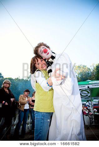 ARKHANGELSKOE - JUNE 6:  Woman And Clown. 7th International Jazz Festival