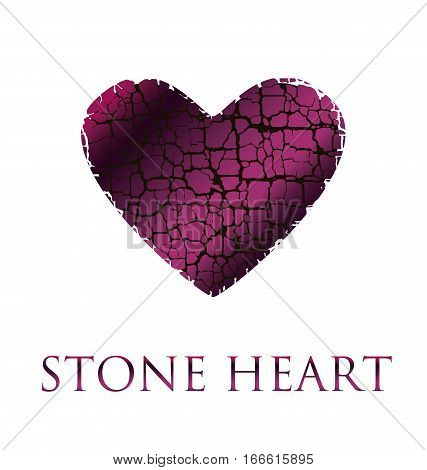 concept abstract broken heart vector illustration. modern style stone love icon. loving symbol simple image. dry broken to pieces heart wine pink color shape texture
