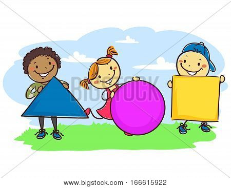 Vector Illustration of Stick Kids Holding Different Geometric Shapes
