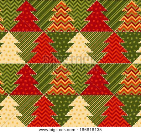 christmas tree green and red color abstract background in patchwork style. seamless pattern vector illustration with fir tree. repeatable peasant style patch fabric motif