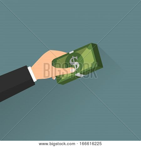 Business man hand with money banknote with long shadow. Vector illustration business concept design.