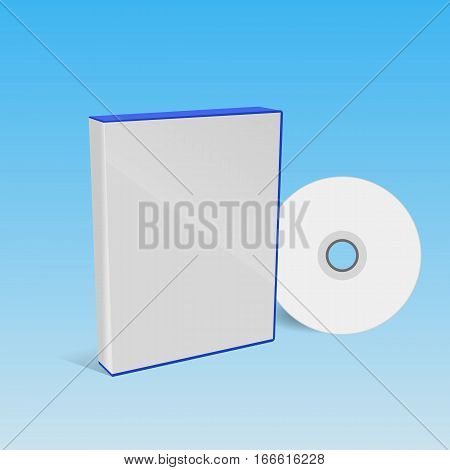 Cd Or Dvd Disc Cover Mockup Blue Box Eps 10 Vector