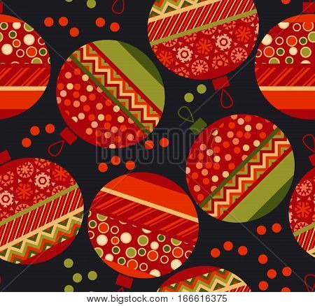 vivid ornament patchwork xmas bubbles seamless pattern. cosy Christmas bulbs motif with assorted fabrics. red and green abstract Christmas vector illustration.