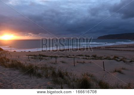 Sunset of Guincho beach Natural Park of Sintra and Cascais Lisboa Region Portugal