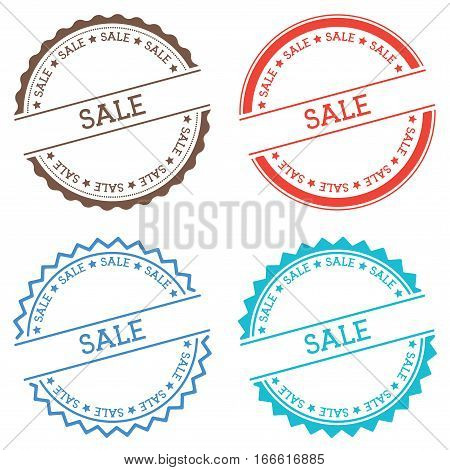Sale Badge Isolated On White Background. Flat Style Round Label With Text. Circular Emblem Vector Il