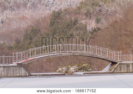 Metal and wood foot bridge over a frozen pond in a wooded area