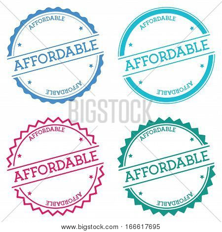 Affordable Badge Isolated On White Background. Flat Style Round Label With Text. Circular Emblem Vec