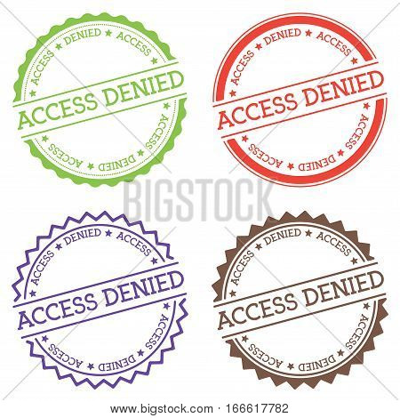 Access Denied Badge Isolated On White Background. Flat Style Round Label With Text. Circular Emblem