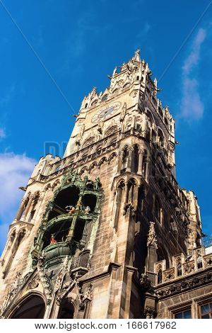 Tower Clock Town Hall Munich Marienplatz Germany