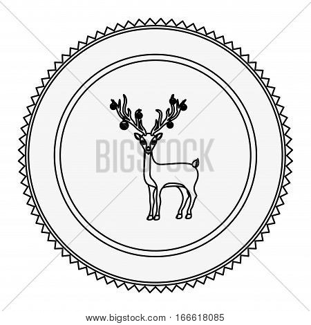 monochrome contour circle with reindeer with reindeer with garlands in horns vector illustration