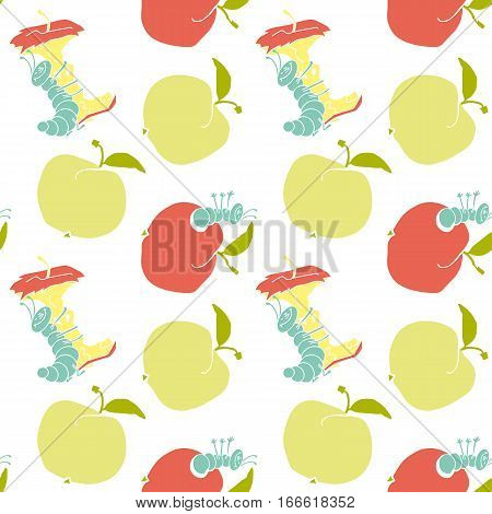 cute apple worm and red apple. fun concept eco healthy food seamless pattern. vector illustration. white background fabric