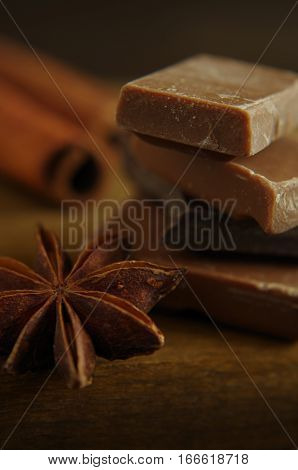 chocolate pieces with star aniseed and cinnamon quill