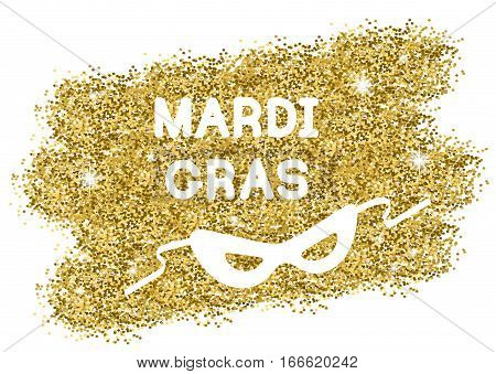 Mardi Gras or Shrove Tuesday background with carnival mask. White silhouettes on gold. Vector Illustration.