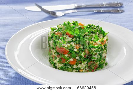 Delicious Tabbouleh Or Parsley, Peppermint, Spring Onion, Tomato Salad