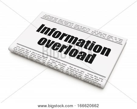 Information concept: newspaper headline Information Overload on White background, 3D rendering