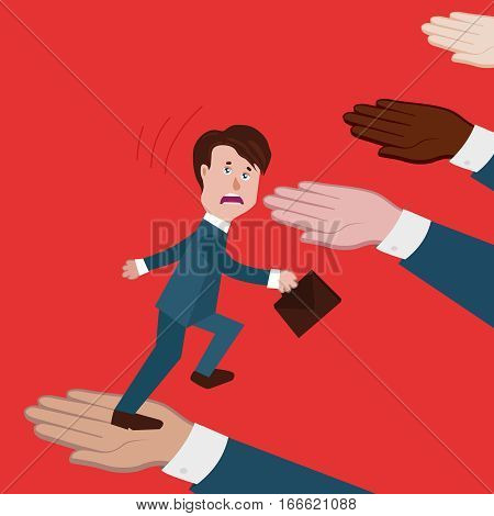 concept of business collapse, team collapsed, deception, colleagues or partners did not help, no support, businessman goes up and falls down.there is no solidarity, loss of confidence.vector illustration.