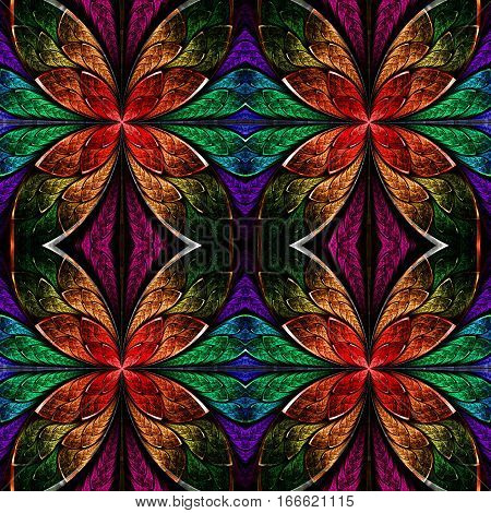 Multicolored seamless fractal pattern in stained-glass window style. You can use it for invitations notebook covers phone case postcards cards wallpapers and so on. Artwork for creative design art and entertainment.