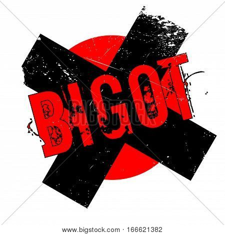 Bigot rubber stamp. Grunge design with dust scratches. Effects can be easily removed for a clean, crisp look. Color is easily changed.