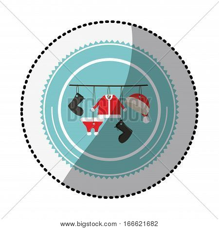 color circle with middle shadow sticker with santa clothes hanging vector illustration