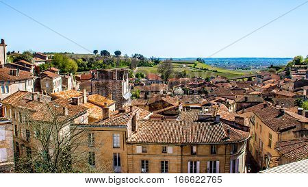 Cityscape of Saint-Emilion and the vineyard near Bordeaux in France
