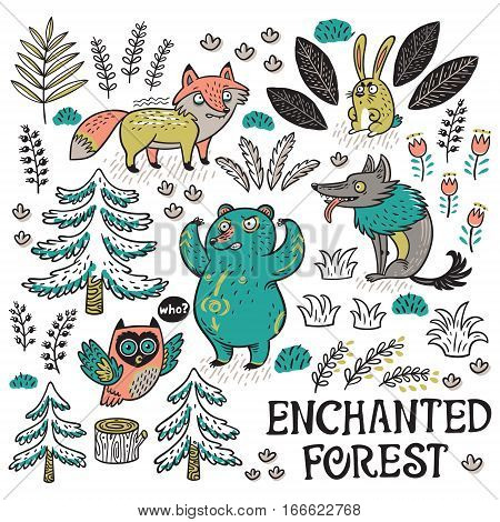 Enchanted forest. Colorful hand-drawn illustration with crazy animals. Vector set with cartoon fox, bear, wolf and owl