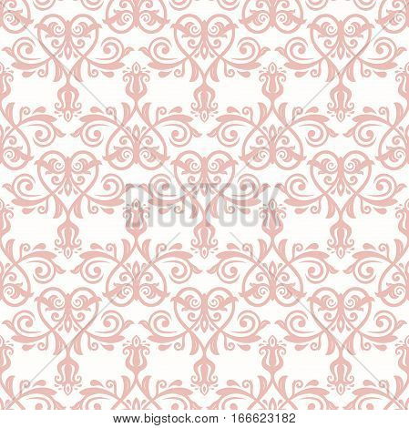 Seamless classic vector pink pattern. Traditional orient ornament. Classic vintage background