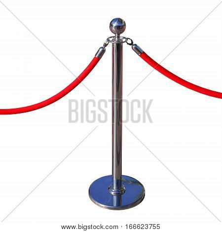 Red Carpet Pole Rope Stanchion Isolated on White Background