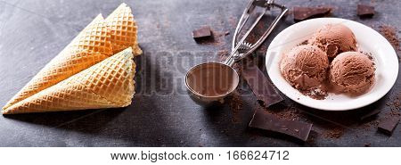 Plate Of Chocolate Ice Cream Scoops