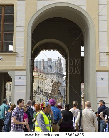 PRAGUE SEPTEMBER 15: The crowd of tourists near main entrance in The Prague Castle on September 15 2014 in Prague Czech Republic.