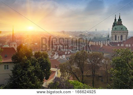 Prague aerial view of Old Town roofs in the old city of Prague (Stare Mesto) on a sunset