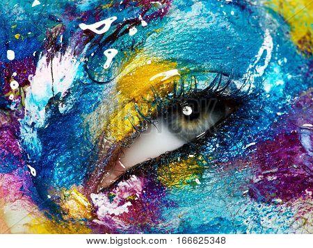 Beautiful Female Eye With Creative, Colorful Makeup. Macro Shot