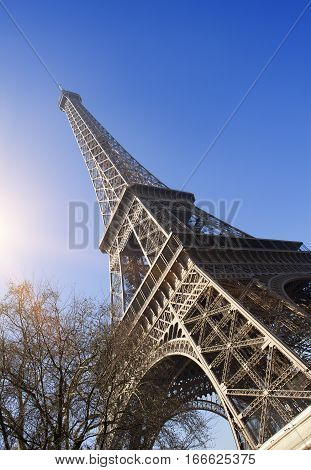 Tour Eiffel. France Paris.Cityscape in a sunny day